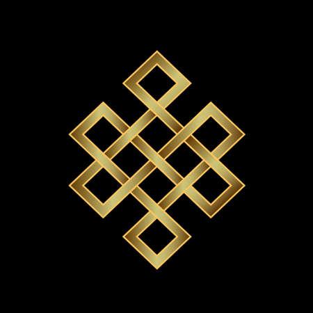 Gouden eindeloze knoop Concept van karma, tijd, spiritualiteit Stock Illustratie