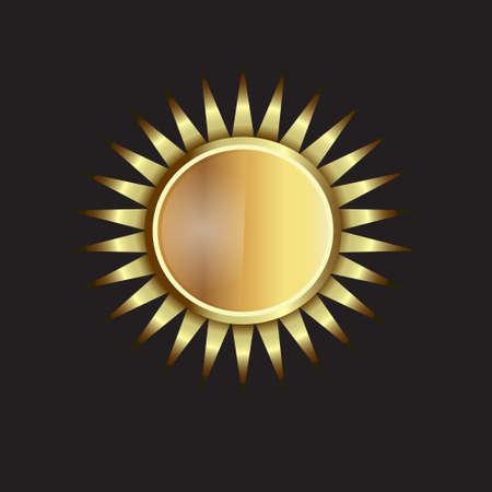 Gold Sun image  Concept of power, luxury, flower  Illustration