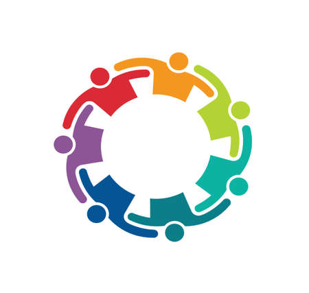 Teamwork Embrace 7 Groep Mensen Concept van betrokkenheid, samenwerken