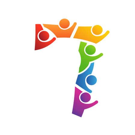 지역 사회 사람들을위한 번호 7 팀워크 벡터 개념 일러스트