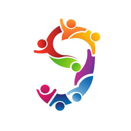number of people: Number 9 Teamwork   Vector concept for community, social people Illustration
