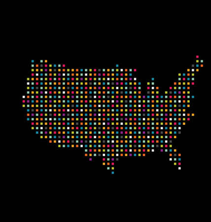 United States color square dot map image  Concept of modernism, technology Vector
