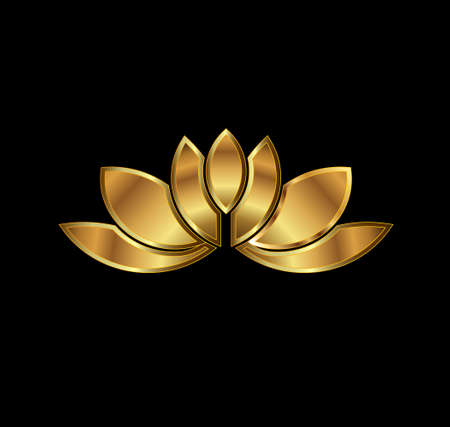 Gold Lotus plant image  Concept of luxury spa, good fortune