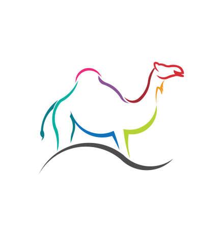 Beeld Kameel kleur gestileerde silhouet Concept van huisdier, veterinaire, geacclimatiseerde Vector pictogram Stock Illustratie