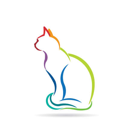 Cat color styled silhouette image  Concept of animal pet, veterinary, domesticated  Vector icon