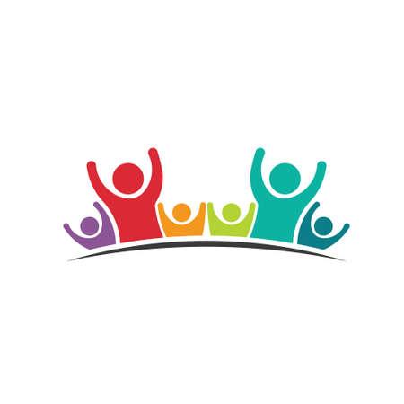 personas ayudando: Trabajo en equipo Seis Amigos Imagen del concepto de grupo de personas, equipo feliz, icono victoria Vector