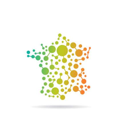 Frankrijk image map stip en lijnen Concept van netwerken, structuur, communicatie Vector pictogram Stock Illustratie