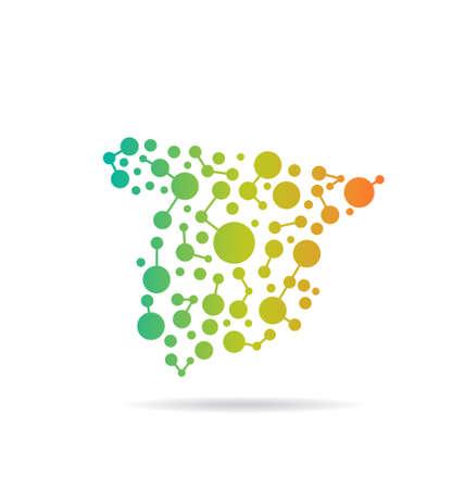 Spagna punti e linee su una mappa Immagine di concetto di networking, la struttura, la comunicazione