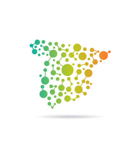 Spain dot and lines map image  Concept of networking, structure, communication Vector