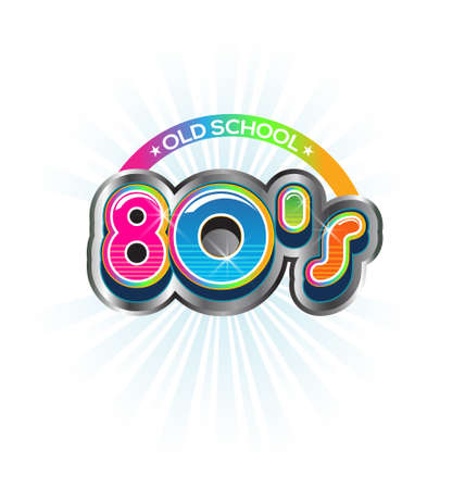 eighties: Old School 80s Vintage sign  Vector Color design