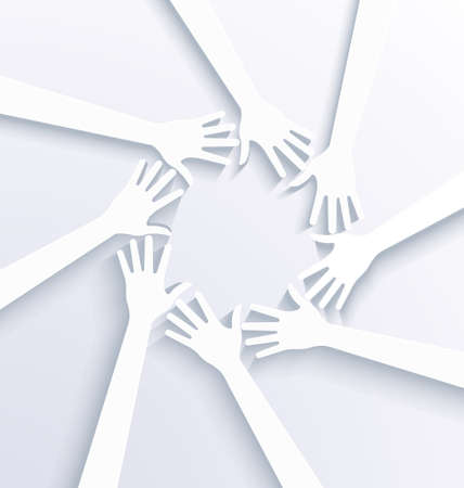 Business hands showing team concept  3D white vector