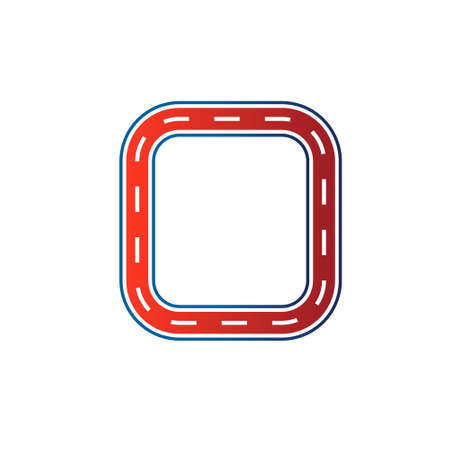 mile: Square race circuit image  Car road track  Vector icon