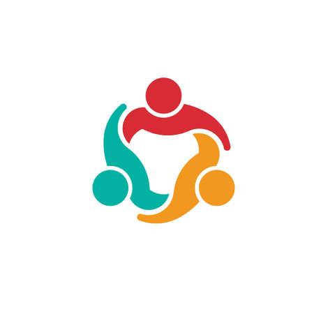 Team 3 consiglio Concetto gruppo di persone unite, icona Vector Vettoriali