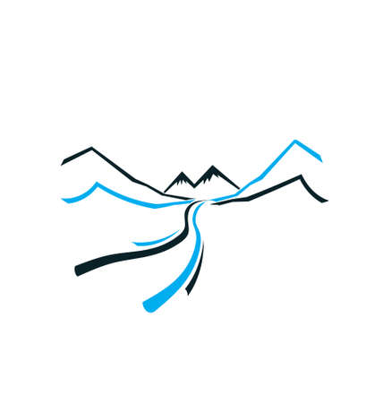 river rock: Road Mountain and Valley  Vector icon Illustration