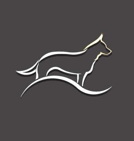 shepherd: Dog white styled image  Concept of animal pet, veterinary, domesticated  Illustration
