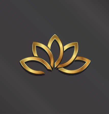 럭셔리 골드 식물 연꽃 이미지 일러스트