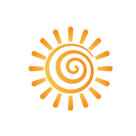 sun energy: Abstract spiral sun image  Concept of summer, fun, happiness  Vector icon  Illustration
