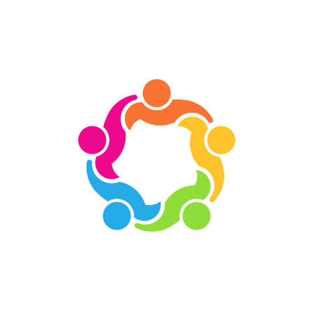 council: Team 5 council Concept group of people united, social guys, partners Vector icon