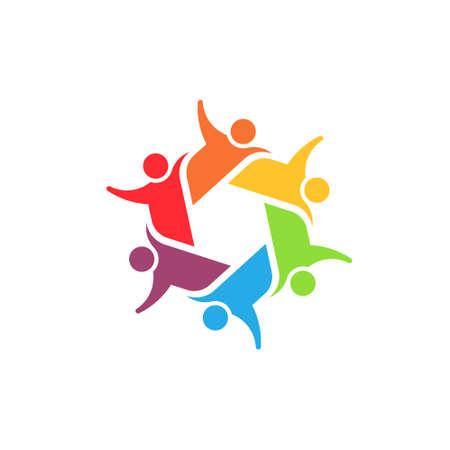 Squadra 6 comitato Concetto gruppo di persone unito, ragazzi sociali, icona partner Vector Vettoriali