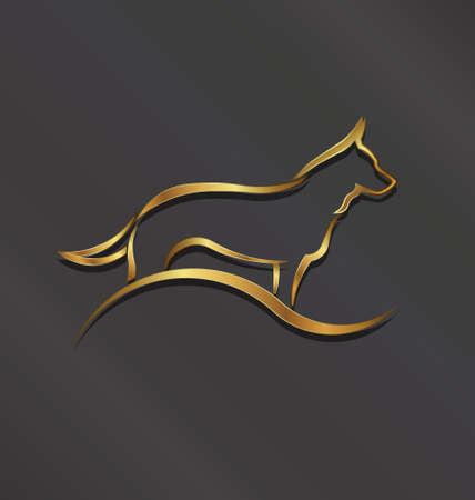 Dog gold styled silhouette image  Concept of animal pet, veterinary, domesticated  Vector