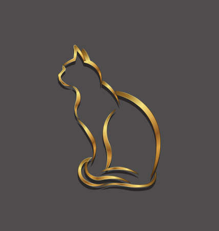 Cat gold 3D line image  Concept of animal pet, veterinary, domesticated