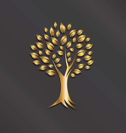 풍요, 재산의 나무 공장 골드 이미지 개념, 행운 벡터 아이콘 일러스트