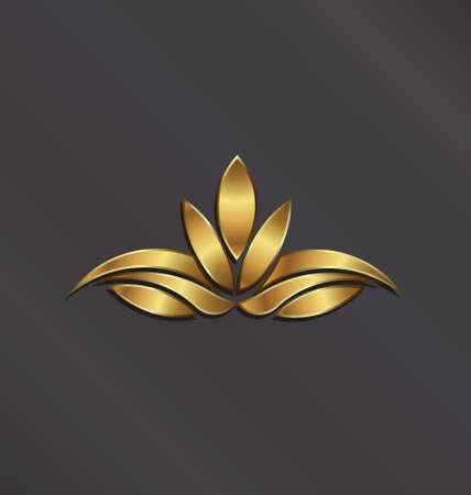 Luxury Gold Lotus plant image  Vector icon Illustration