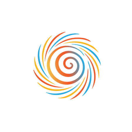 Abstract colorful swirl image  Concept of hurricane, twister, tornado  Vector icon