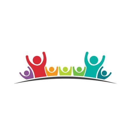 Lavoro di squadra Sette Amici Concetto di immagine di un gruppo di persone, squadra felice, la vittoria, icona di coaching Vector