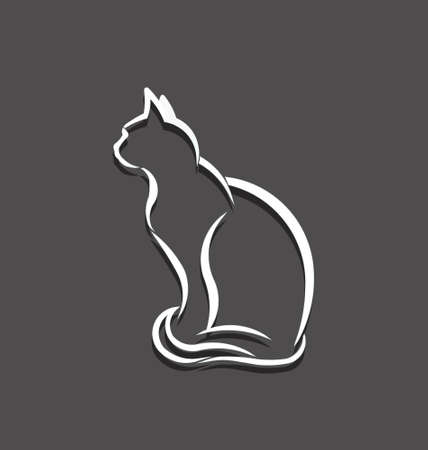 Cat white 3D line image  Concept of animal pet, veterinary, domesticated Vector