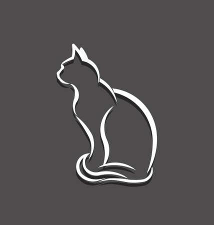silueta de gato: Imagen de línea blanca 3D del concepto del gato de mascota animal, veterinaria, domesticado Vectores