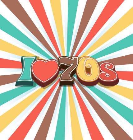 I love 70s Vector Vintage Art Background Vector