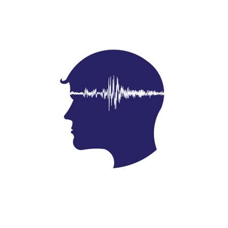 neuroscience: Concept of electroencephalogram head Illustration