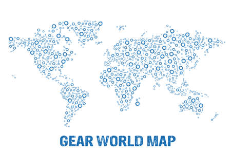 Abstract World gear map  Vector