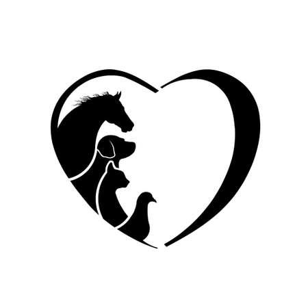 Amor Veterinario Corazón Horse. Abstracción de cuidado de los animales