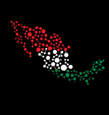 Mexico dot line Map.