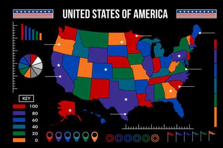 USA kaart infographic illustratie Stock Illustratie