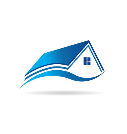 Aqua blue house  real estate image   Vector
