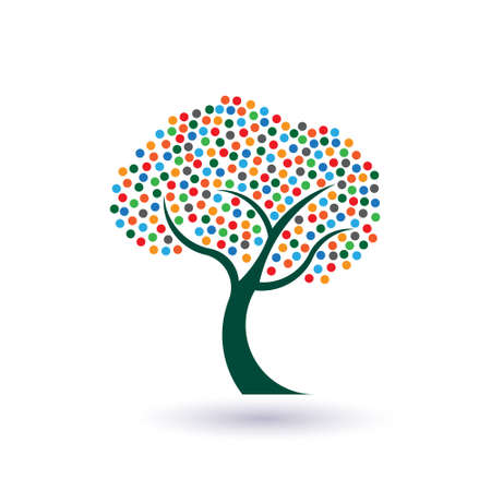 fruitful: Multicolored circles tree image  Concept of fruitful and prosperous life  Illustration