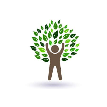 vida natural: Árbol Hombre Feliz Concepto de éxito y vida natural Vectores