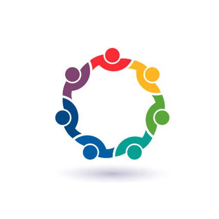 conectar: Equipo 7 congreso Concepto grupo de personas conectadas, amigos felices, ayudándose unos a otros