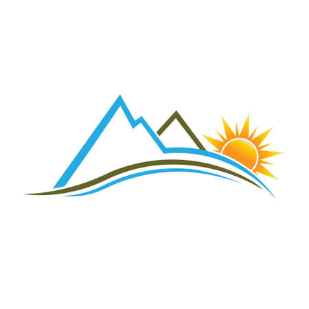 Mountains and Sun image.  Vector