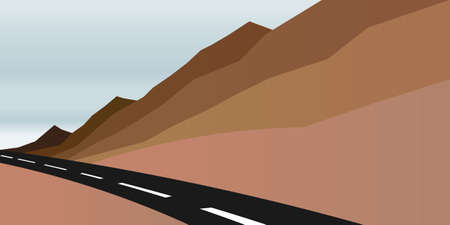 colorado rocky mountains: Mountains and road image.  Illustration