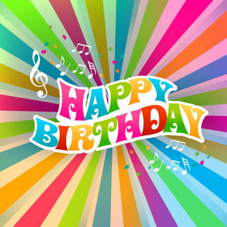 Happy Birthday art card, Color Sunburst Vector
