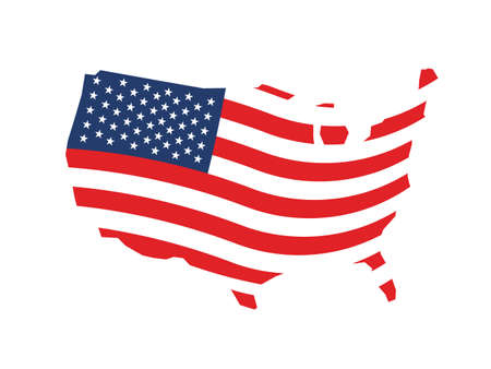 USA wave stars and stripes map Vector