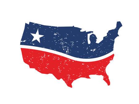 USA rood en blauw grunge kaart.