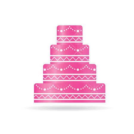 wedding cake: Pink Wedding cake for invitations or card. Illustration