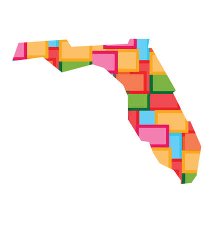 florida state: Florida color squares map. Concept of diversity, counties, happy state.