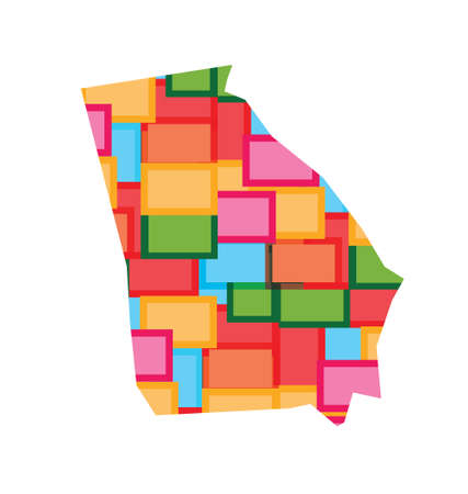 Georgia color squares map. Concept of diversity, counties, happy state.
