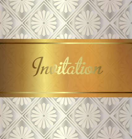 Golden invitation on wedding style background. Vector